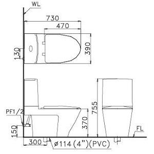 bàn cầu hai khối CD1345