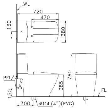 bàn cầu hai khối CD1346