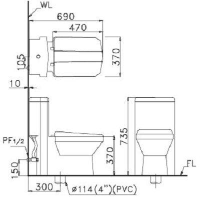 Bồn cầu hai khối CD1347