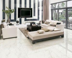 Gạch lát nền màu trắng tạo sự tinh tế sang trọng cho ngôi nhà bạn