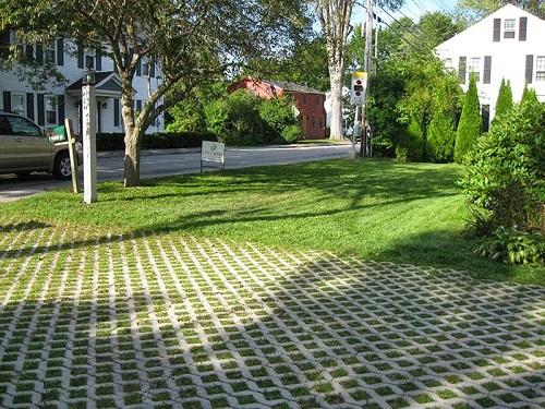 gạch lát sân trồng cỏ