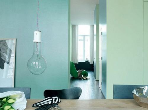 cách phối màu gạch màu xanh ngọc với sơn tường